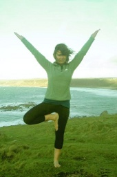 yoga tree pose at Sennen Cove