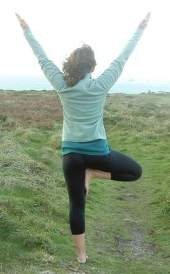 yoga tree pose at St Buryan